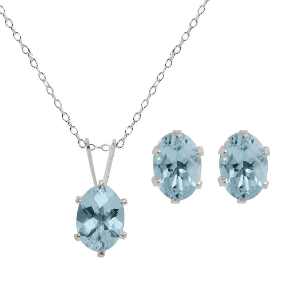 Sterling Silver Genuine Aqua Marine Pendant & Earring Set - 2.00TGW