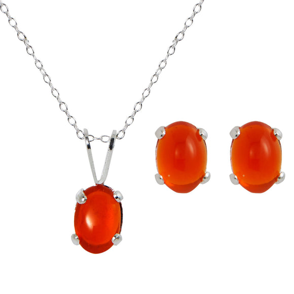 Sterling Silver Genuine Fire Opal Pendant & Earring Set - 1.90TGW
