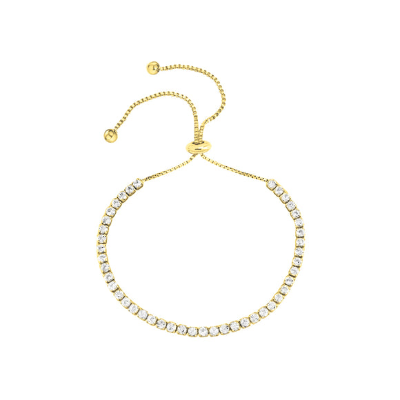 18K Yellow Gold Adjustable Bolo CZ Tennis Pull Bracelet