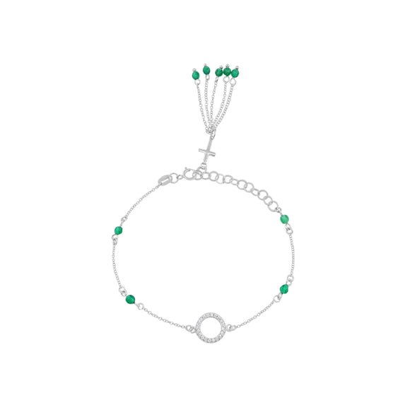 Cross & Emerald Sterling Silver Station Fringe Bracelet