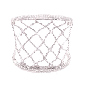 Sterling Silver CZ Lace Luxury Cuff Bracelet