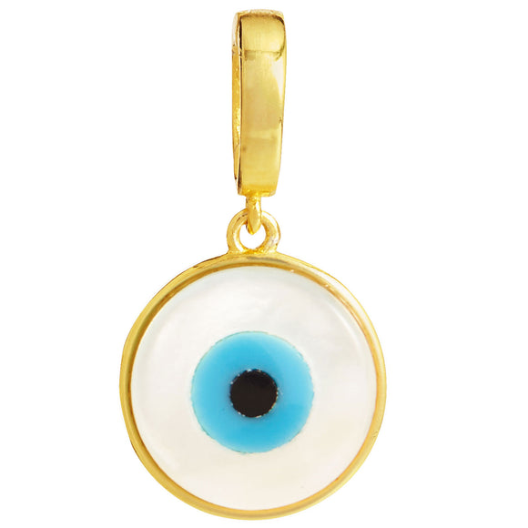 18K Gold Vermeil Mother of Pearl Evil Eye Removable Charm