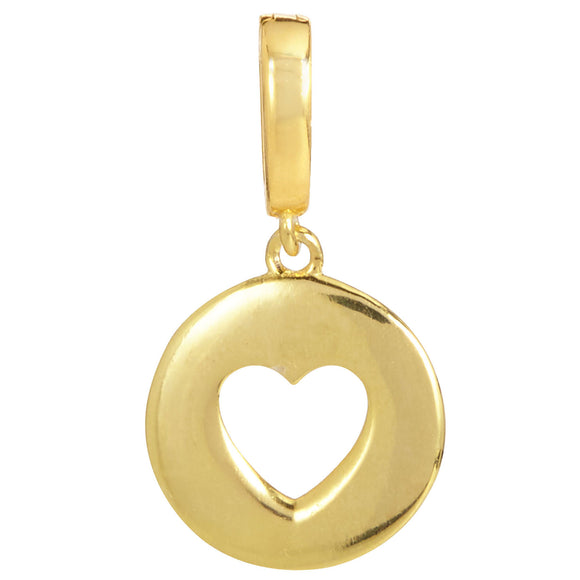 18K Gold Vermeil Open Heart Removable Charm with Latch