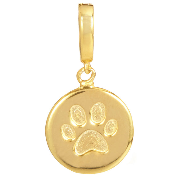 18K Gold Plated Paw Print Removable Charm with Latch