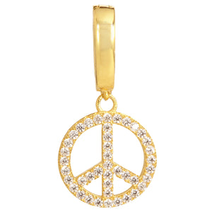 18K Gold Plated CZ Peace Sign Removable Charm with Latch