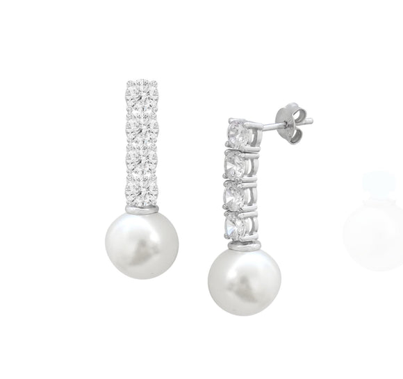 Sterling Silver CZ & Pearl Dangle Stud