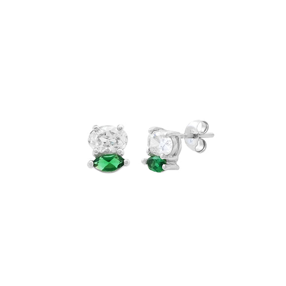 Stacked Sterling Silver CZ & Emerald Studs
