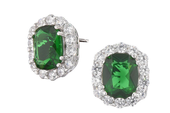 Lab Created Emerald and CZ Luxury Earrings