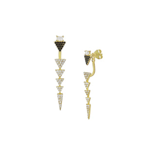 14K Two-Piece White & Black CZ Triangle Drop Front to Back Studs
