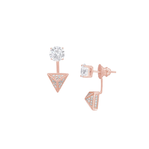 Geometric 14k CZ Stud Front to Back Earrings