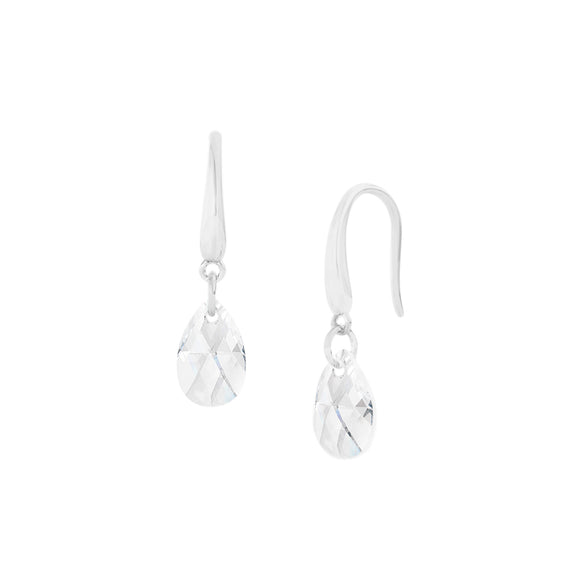 Crystal Droplet Sterling Silver Hook Earring