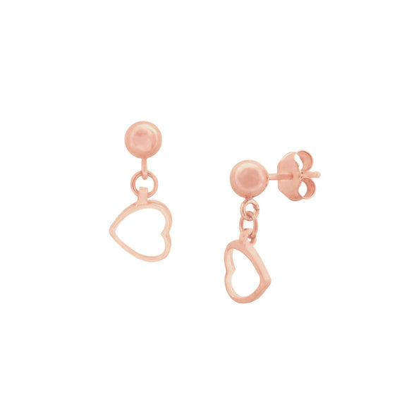 14K Heart Dangle Ball Post Studs