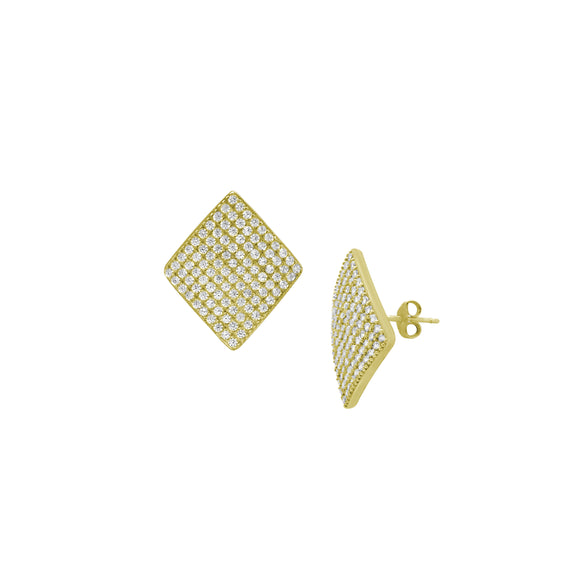14K Large CZ Cluster Diamond Shield Stud Earrings