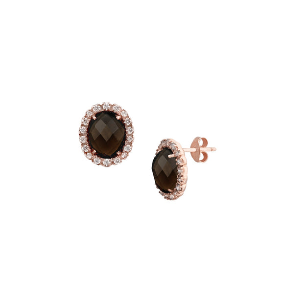 Smoky Quartz & Topaz Oval Halo Stud Earrings