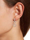 Triple Circle CZ Dangle Earrings