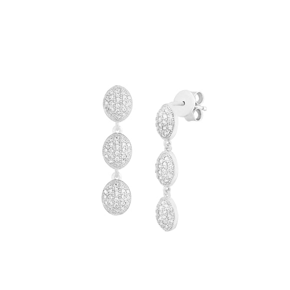 Triple CZ Oval Cluster Dangle Studs