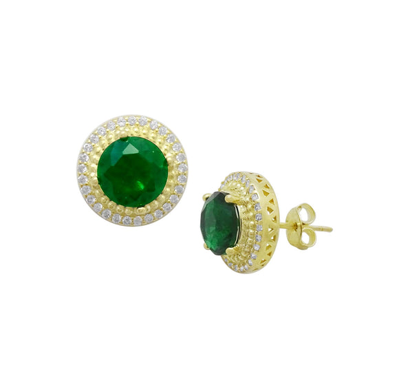 18K Large Emerald & CZ Halo Earrings