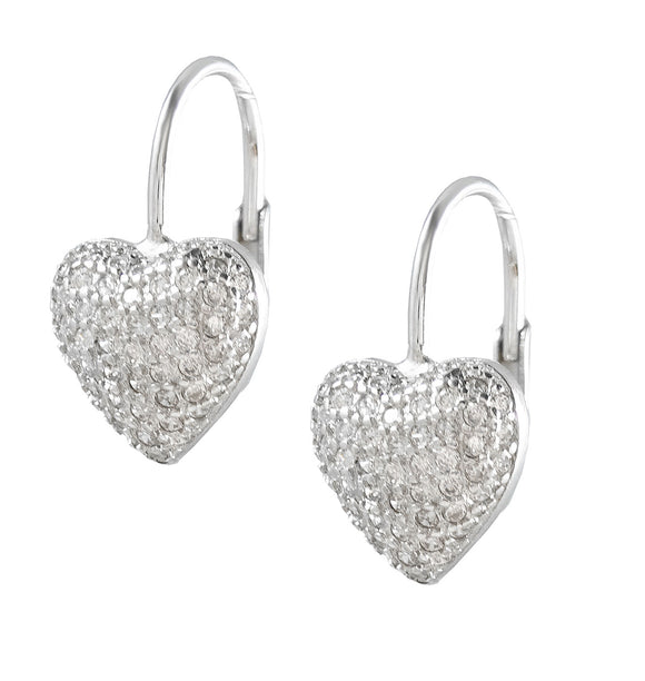 Sterling Silver White CZ Pave Heart Earrings