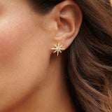 18k Gold Vermeil over Sterling Silver CZ Starburst Earrings