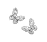 Sterling Silver White CZ / Baguette Butterfly Earrings