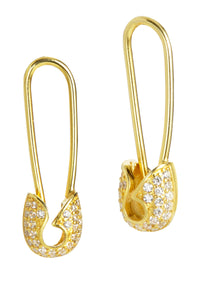 18K Gold Vermeil CZ Safety Pin Earrings