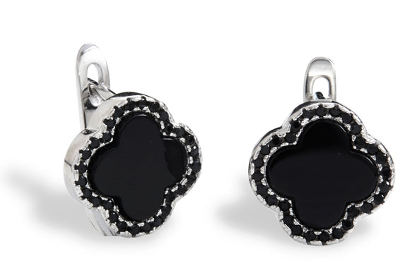 Sterling silver black onyx flower earrings