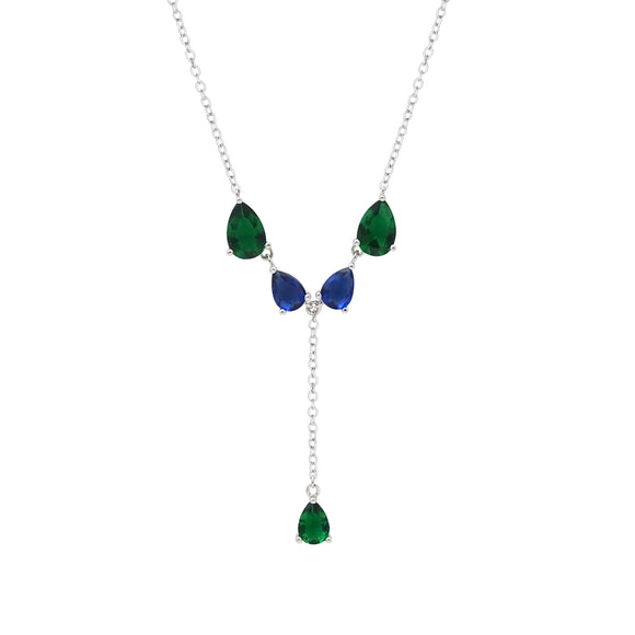 Emerald & Sapphire Sterling Silver Princess Lariat Necklace