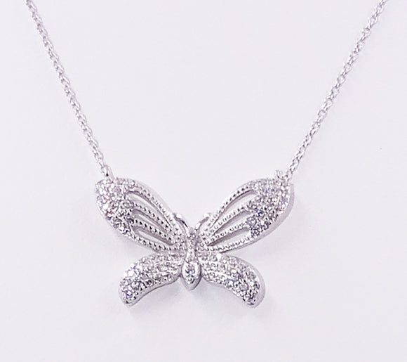Sterling Silver White CZ Butterfly Necklace