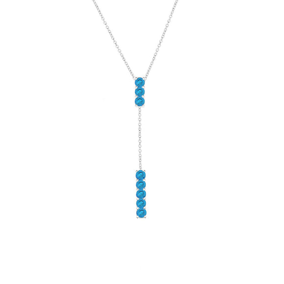 Sterling Silver Blue Topaz Bar Lariat Necklace