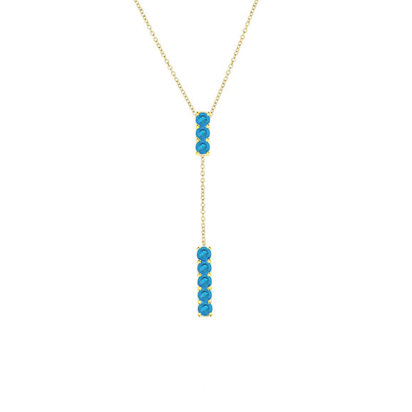 14K Blue Topaz Bar Lariat Necklace