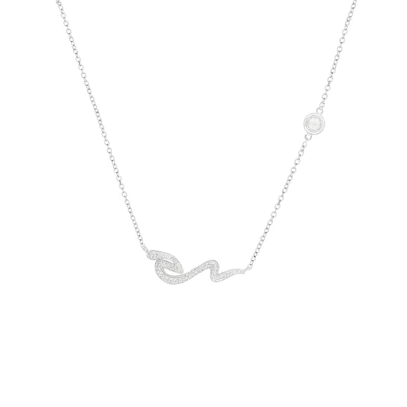 Snake & CZ Bezel Sterling Silver Necklace