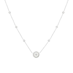 Mother of Pearl Circle Pendant & CZ Station Necklace