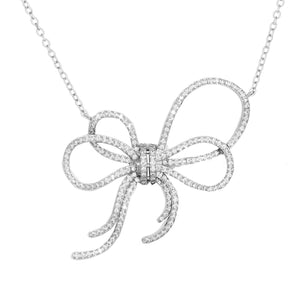 Sterling Silver White CZ Luxury Bow Necklace