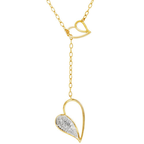 18k Two-tone Diamond Double Heart Lariat Necklace