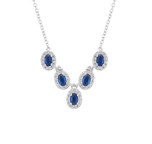 Sterling Silver Sapphire & CZ Princess Necklace