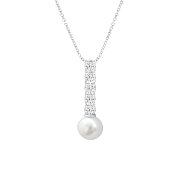Sterling Silver CZ & Pearl Pendant Necklace