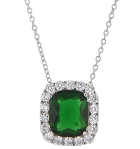 Lab Created Emerald and CZ Luxury Pendant