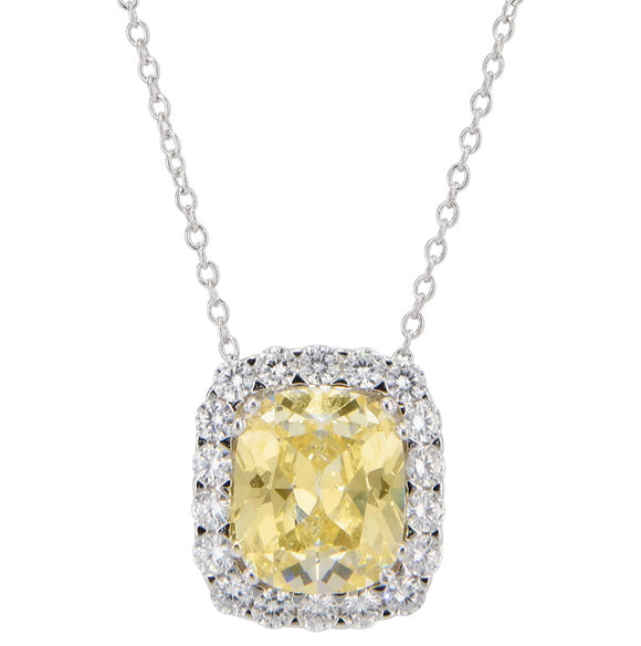 Lab Created Canary and CZ Luxury Pendant