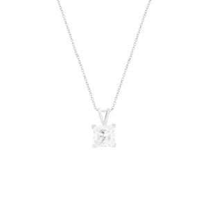 Solitare Princess-Cut CZ Sterling Silver Necklace