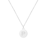 Rhodium Initial 12mm Coin Pendant Necklace