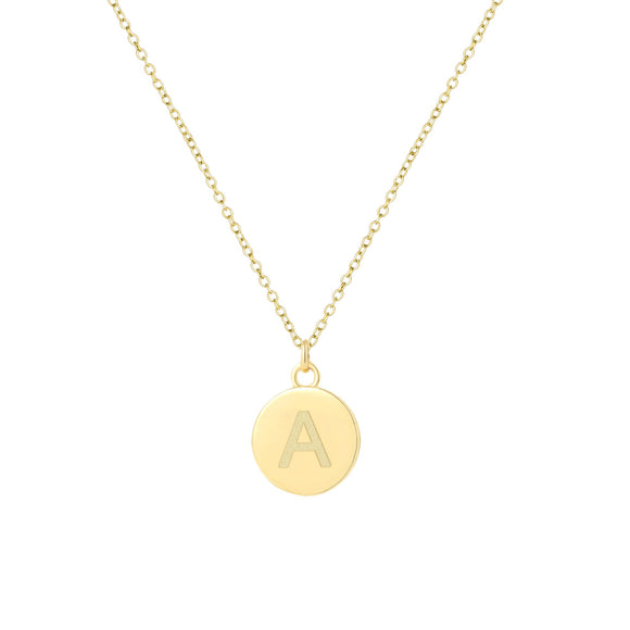 18K Gold Initial 12mm Coin Pendant Necklace