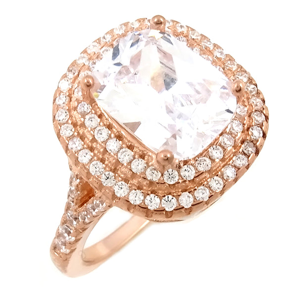 18K Rose White CZ Ring