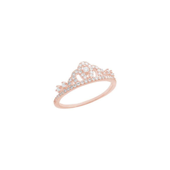 18K Rose Gold Princess Crown Band