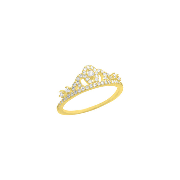 18K Yellow Gold Princess Crown Band