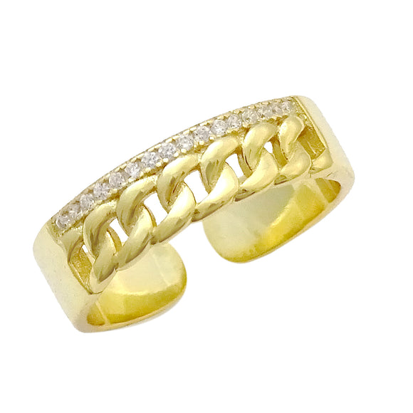 18K Gold Plated Braided Adjustable CZ Ring