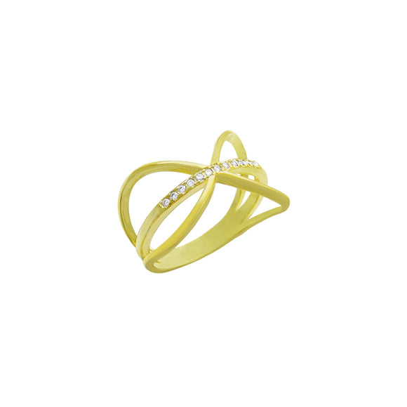 18K Wide Criss-Cross CZ Fashion Ring