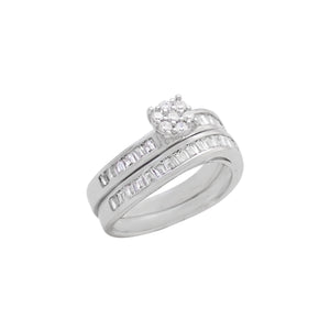 Rhodium Round & Baguette CZ Asymetrical Ring Set
