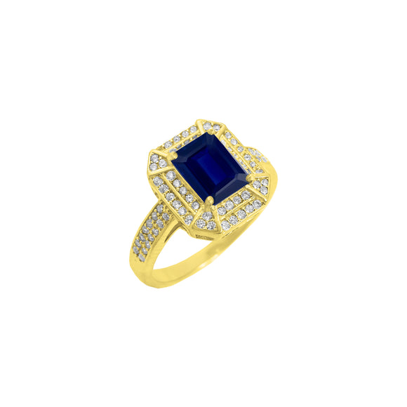 Double Halo 18K Sapphire & CZ Rectangle Ring