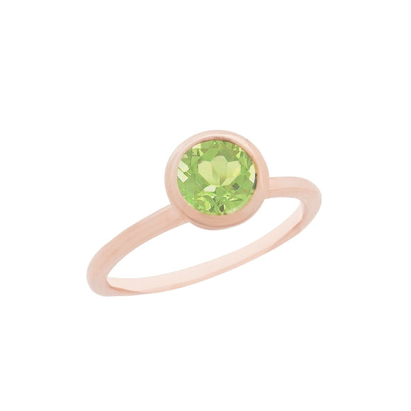18K Rose Gold Vermeil Peridot Solitaire Ring