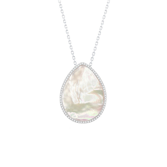 Sterling Silver Mother Of Pearl & CZ Teardrop Necklace